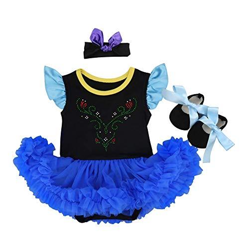 Baby Princess Anna Coronation Costume Fancy Dress Halloween Christmas Party Romper Bodysuit Cosplay Headband Shoes 3pcs Outfits Set BlueBlack 0-3 Months