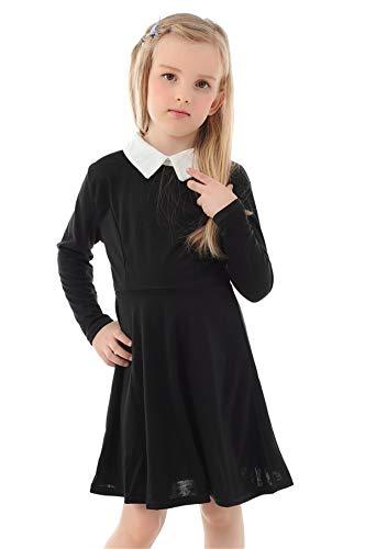 Girls Wednesday Addams Dress Long Sleeve Casual Peter Pan Dress Halloween Dress Black 13T