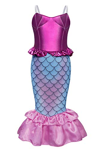 Jurebecia Little Girls Mermaid Costume Princess Dress Up Fancy Birthday Theme Party Outfit Luxury Shell Type Dresses Halloween Role Play Pink Size 8
