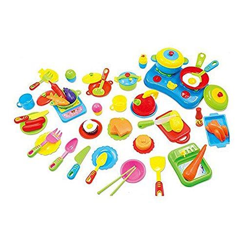 LUCKSTARTM 60PCs Kids Children Play Cooking Kitchen Educational Kitchenware ToySimulation Kitchen Cooking Utensils Small Chef Toy SetPlay House PlaysetsKitchen Kitchenware ToysLearning Cooking Tableware Toys