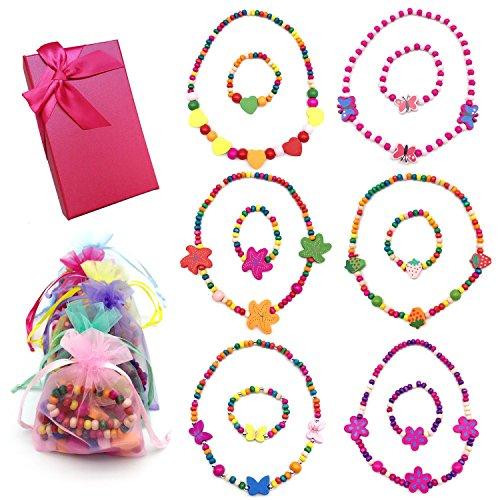 Elesa Miracle Little Girl Party Favor Princess Necklace Bracelet Jewelry Value Set 6 Sets