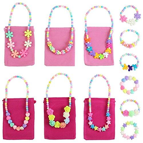 kilofly Princess Party Favor Jewelry Value Pack Necklace Bracelet 6 Sets