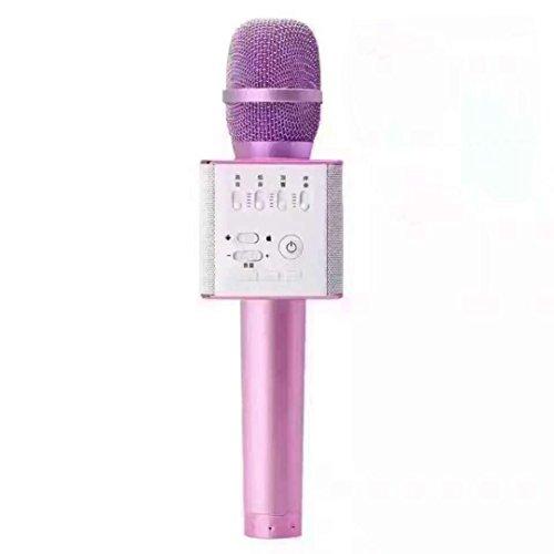 GOTD Q9 Wireless Bluetooth Karaoke Microphone Mini Speaker Home KTV Stereo USB Player Hot Pink