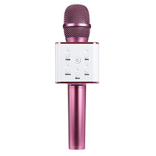 Gotd Q7 Wireless Bluetooth Handheld KTV Karaoke Microphone Mic Speaker For Phone Hot Pink