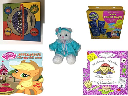 Girls Gift Bundle - Ages 6-12 5 Piece - 2002 Cranium Game - Denim Lunch Bags Party Kit Toy - TB Trading Baby Girl White Teddy Bear Plush 16 - My Little Pony Applejacks Day on the Farm Board bo