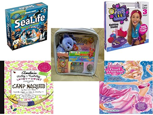 Girls Gift Bundle - Ages 6-12 5 Piece - SeaLife Board Game - Knits Cool - Knitting Studio - Ty Beanie Babies Official Club Kit II Platinum Edition - Amelias Itchy-Twitchy Lovey-Dovey Summer a