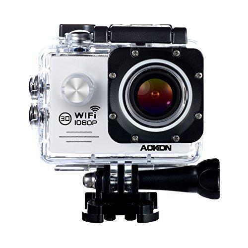 Aokon Waterproof Camera SJ7000 Sports Action Camera 1080P 12M HD Helmet Motorcycle Video Underwater Camera Cam - 170°Wide   Angle Lens - 20 Inch LCD Screen - 2 Batteries 19 Accessories Kit White