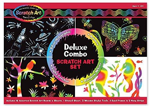 Melissa Doug Deluxe Combo Scratch Art Set 16 Boards 2 Stylus Tools 3 Frames