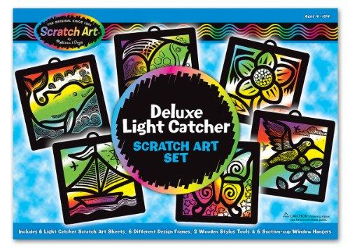 Melissa Doug Deluxe Light Catcher Scratch Art Set - 6 Sheets 6 Frames