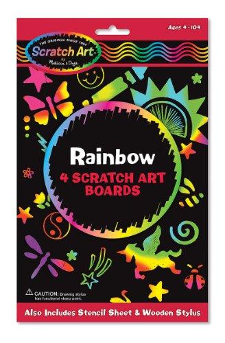 Melissa Doug Scratch Art Activity Kit Rainbow - 4 Boards Stencil Sheet Wooden Stylus