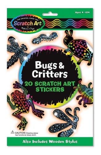 Melissa Doug Scratch Art Magic Bugs and Critters Sticker Kit 20 Stickers