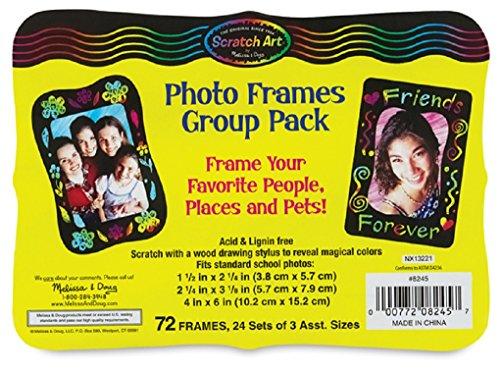 Melissa Doug Scratch Art Photo Frames Classroom Pack - 72 Frames in 3 Sizes