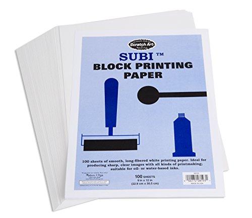 Melissa Doug Scratch Art Subi Block Printing Paper 9 x 12 inches White - 100 Sheets