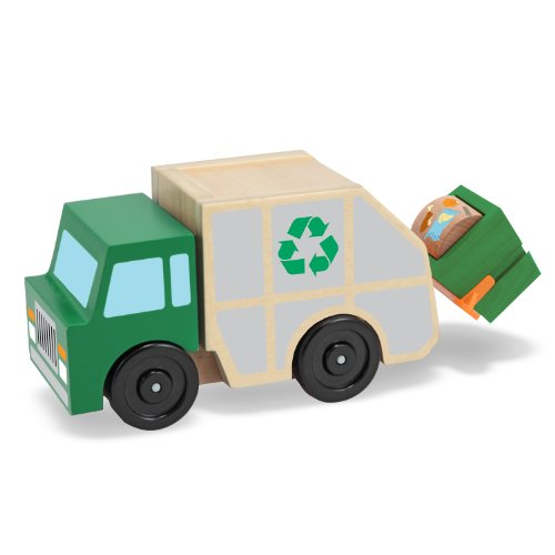 Melissa Doug Garbage Truck Wooden Vehicle Toy 3 pcs