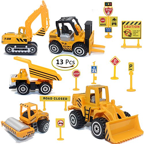 ZOHUMI Construction Toys Sets 5 Pieces Mini Vehicles Including Truck Forklift Bulldozer Road Roller Excavator Dump Truck TractorFree-Wheeling Cars for Children