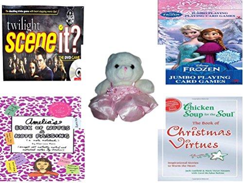 Girls Gift Bundle - Ages 6-12 5 Piece - Twilight Scene It Trivia DVD Board Game - Disney Frozen Jumbo Playing Card Games - Build A Bear Ballerina Bear White w Pink Tutu 9 - Amelias Book of No