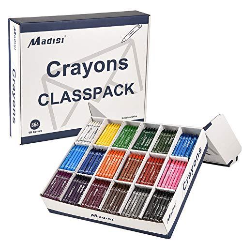 Madisi Crayon Classpack Regular Size 18 Colors Bulk Pack 864 Count