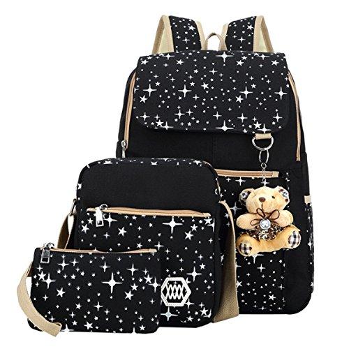 ABage Girls Canvas Backpack Set 3 Pieces Patterned Bookbag Laptop School Backpack Black
