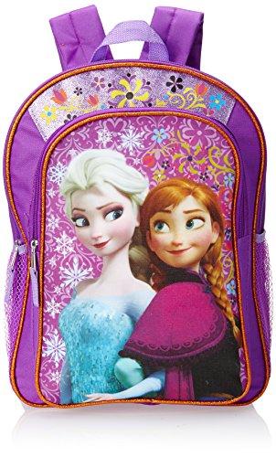Disney Frozen Anna Elsa Big Girls Backpack Purple with Amber Trim Purple One Size