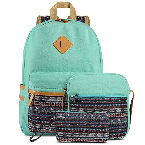 Plambag Canvas Backpack Set 3 Pcs Casual Lightweight School Backpack for Women Teen Girls Water Blue