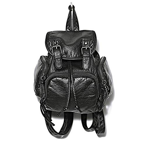 CHNS Women Vintage Strap Washable Leather Black Solid Fashion Backpack Casual Travel School Shoulder Bag Bookbag Rucksack Satchel College Daypack Black