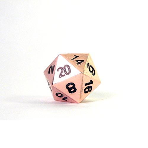 Solid Metal Copper Color D20 Polyhedral Dice Single Die
