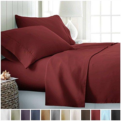 King Sheet Set by ienjoy Home Collection - Deep Pocket Bed Sheets - 100 Soft Brushed Microfiber Bedding - King Burgundy
