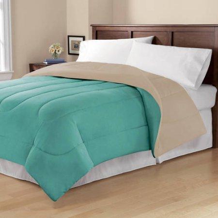 Mainstays Cozy Luxury Solid Reversible Microfiber Bedding Girls TwinTwinXL Comforter- AquaTan