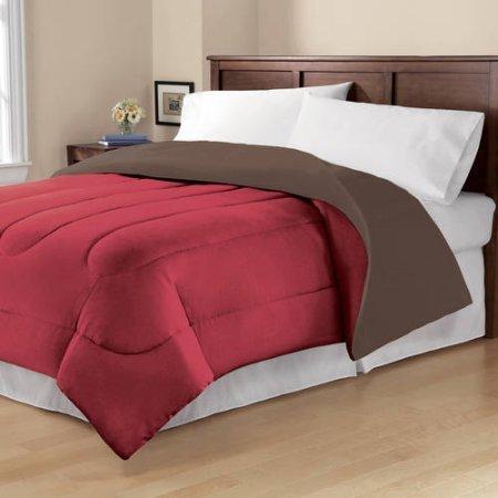 Mainstays Cozy Luxury Solid Reversible Microfiber Bedding Girls TwinTwinXL Comforter- RedBrown