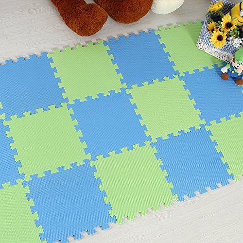 Menu Life 10-tile Green Blue Exercise Mat Soft Foam EVA Playmat Kids Safety Play Floor Puzzle Playmat Tiles