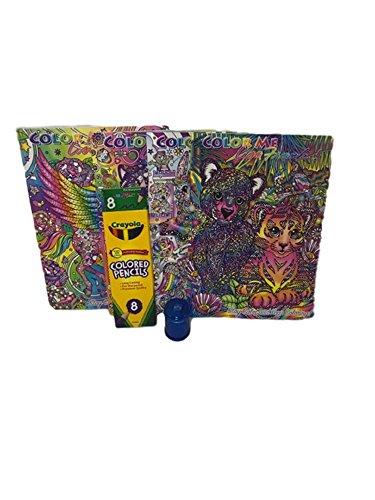 4 - Lisa Frank Adult Color Me Coloring Books Coloring Pencils Sharpener Bundle of 6 Items