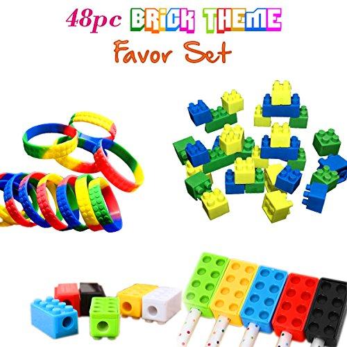 Brick Building Blocks Party Favor Novelty Toys Set Block Bracelets Erasers Sharpeners 48pcs Great for Children Birthdays Kids Goody Bags Reward Prize Boxes