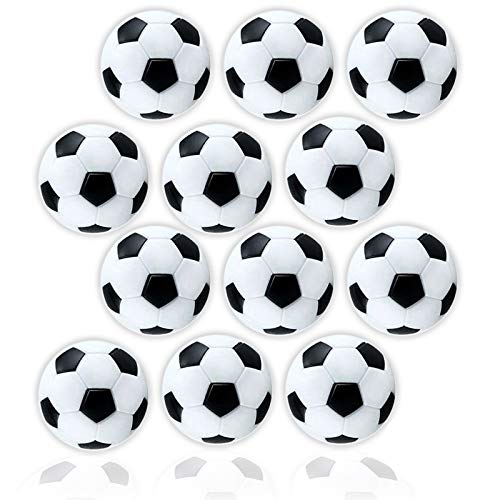 Anapoliz Table Soccer Foosballs  Replacement 12 Pack  Mini Black and White 36mm Table Soccer Balls  Regulation Size Foosball  Tabletop Games Official Balls 12 Pcs Set