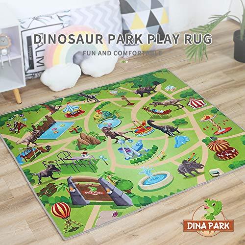 Kids Rug Dina Park 47 x 39 Dinosaur World Kids Play Mat Game Rug Children Room Decor Carpet