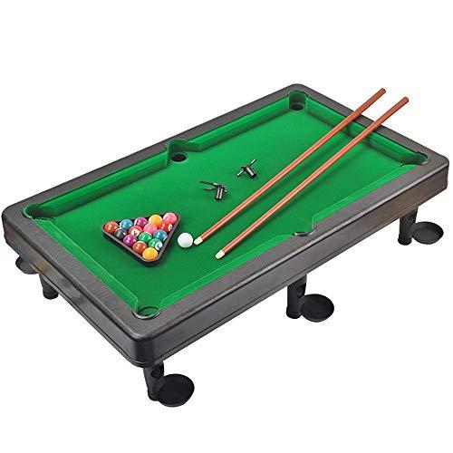Dertyped Table Top Pool Set Mini Pool Table Plastic Table Top Miniature Pool Game Set with Mini Pool Balls Cue Sticks Tabletop Toy Pool Table for Adults Kids Mini Pool Table Set