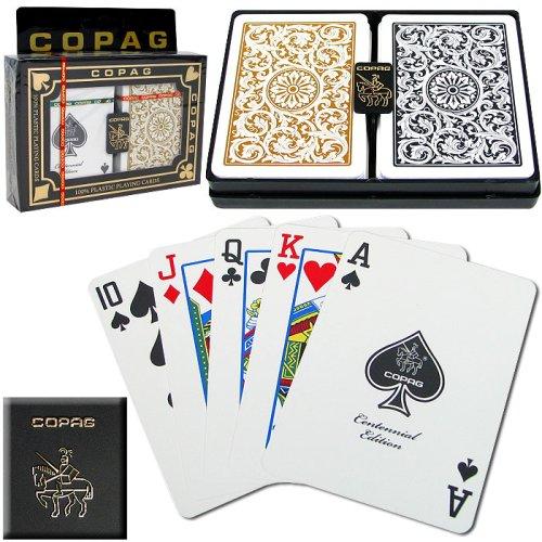 Copag Poker Size Regular Index 1546 Playing Cards 2 decks Black Gold Setup