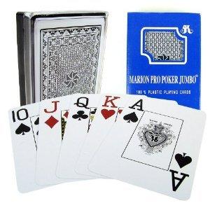 Marion Pro Jumbo Index - 100 Blue Plastic Poker Playing Cards