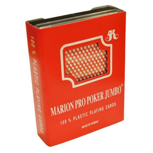Marion Pro Jumbo Index - Diamond Back - 100 Red Plastic Poker Playing Cards