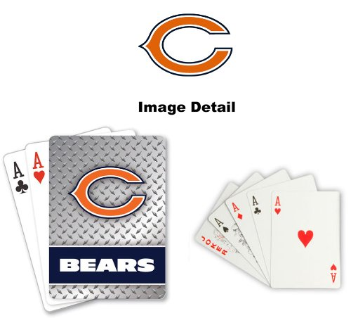 Playing Cards - NFL - Chicago Bears NFL Team Logo Standard Size Diamond Plate Pattern Poker Blackjack Crazy Eights - 52 Card Deck Plus 2 Jokers