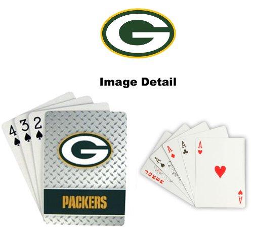 Playing Cards - NFL - Green Bay Packers NFL Team Logo Standard Size Diamond Plate Pattern Poker Blackjack Crazy Eights - 52 Card Deck Plus 2 Jokers