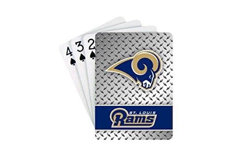Playing Cards - NFL - Los Angeles Rams NFL Team Logo Standard Size Diamond Plate Pattern Poker Blackjack Crazy Eights - 52 Card Deck Plus 2 Jokers