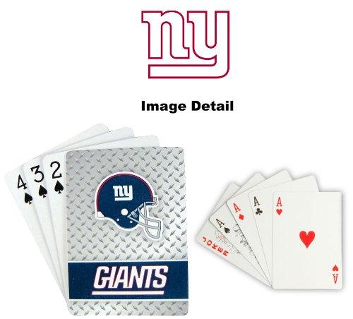 Playing Cards - NFL - New York Giants NFL Team Logo Standard Size Diamond Plate Pattern Poker Blackjack Crazy Eights - 52 Card Deck Plus 2 Jokers