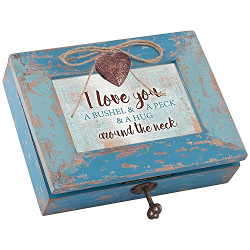 I Love You a Bushel and a Peck Teal Wood Locket Jewelry Music Box Plays Tune You are my Sunshine