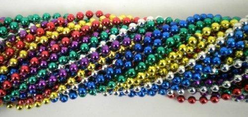 33 Inch 07mm Round Metallic 6 Color Mardi Gras Beads - 6 Dozen 72 Necklaces