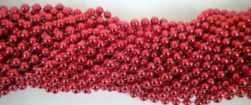 33 inch 07mm Round Metallic Red Mardi Gras Beads - 6 Dozen 72 necklaces