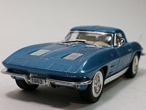 Kinsmart 1963 Powder Blue Chevy Corvette Stingray Hardtop 136 Scale Diecast Car