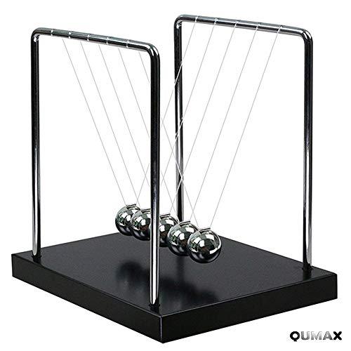 QUMAX Newtons Cradle Balance Balls Science Pendulum Desk Toy Physics Gadget with Authentic Wooden Base