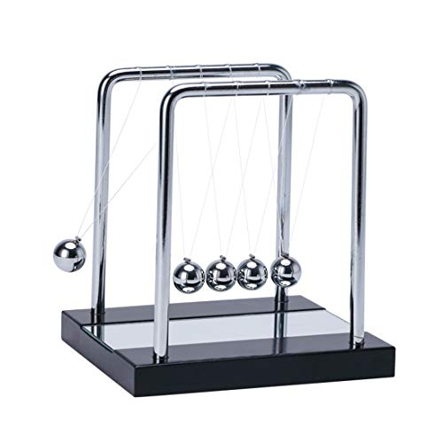 SHTWX Mylifestyle Newtons Cradle Balance Balls with Wooden Base Physics Science Classroom Psychology Puzzle Desk ToyFun Accessory-with Mirror Medium-53 x51 Inch