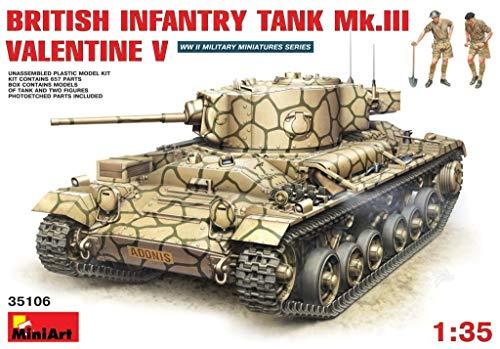 MiniArt 35106 British WWII Infantry Tank MkIII Valentine V 135 Scale World War II Military Miniatures Series Plastic Tank Model Kit