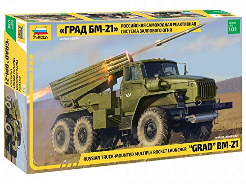 Zvezda 3655 - Russian Truck-Mounted Multiply Rocket Launcher Grad BM-21 - Plastic Model Kit Scale 135 429 Parts Lenght 85  216 cm